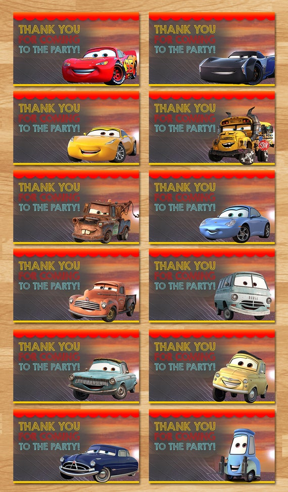 Disney Cars 3 Party Tags - Chalkboard - Cars 3 Favor Tags - Cars 3 Gift Tags - Cars 3 Printables - Cars 3 Party Favors - Cars 3 Birthday
