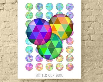 Geometric Triangles 1 Inch Circles / Round Digital Collage Sheet Crafts / Bright Colorful Fluorescent Bottle Cap Images / PRINTABLE DOWNLOAD