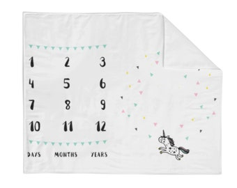 Monthly Milestone Blanket Unicorn - Crib Blanket - Baby Blanket - Unicorn Blanket - Monthly Counter Blanket - Girl Blanket - Baby Gift