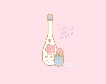 Hanami Sparkling Sakura Sake Enamel Pin PREORDER, 30mm, Hard Enamel, Gold, Pink, Green, Pastel, Cute, Kawaii, Japan, Sakura, Flowers, wine