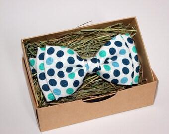 Polka dot bow tie, Blue bow tie, Linen bow tie, Handmade bow tie, Birthday bow tie, Men's bow tie, Party bow tie, Wedding bow tie