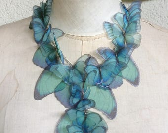 Aquamarine Morpho - Handmade Silk Organza Butterflies and Wings Statement Necklace - Special Edition