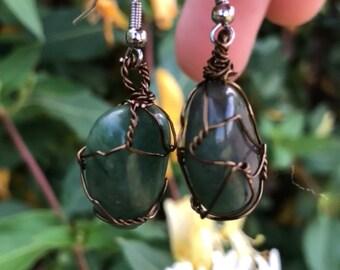 Handmade jade earrings