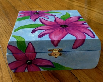 Acrylic Pink Flower Painting on Wooden Box