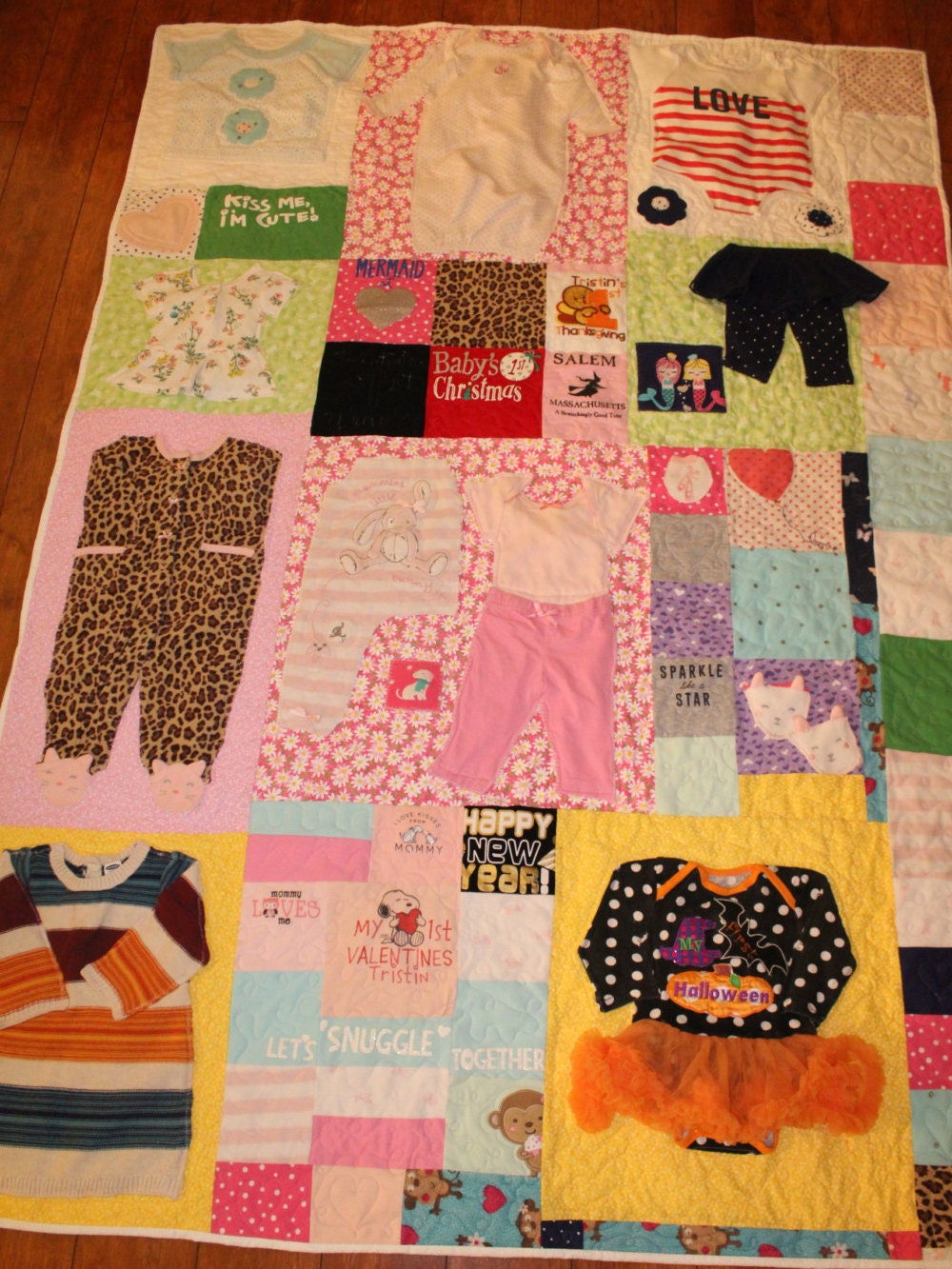 Babys First Year Quilt Baby Memory Quilt Baby Clothes Quilt