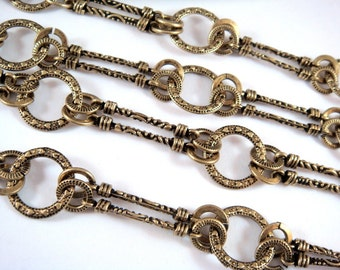 38in Handmade Chain Antique Bronze Chain Designer Chain Bars and Rings Textured Chain Not Soldered - 3 feet 2 inch - STR9042CH-AB38