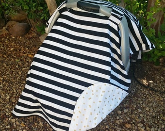 Baby Car Seat Cover - Baby Car Seat Canopy - Black White Car Seat Canopy - Stripe Car Seat Cover - Baby Shower Gift - Unisex Car Seat Cover