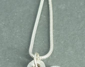 Fine Silver Floral Heart Necklace on 18 inch Chain