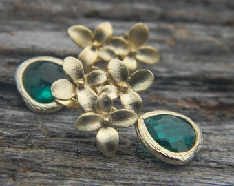 Emerald Green and Gold Earrings, Dangle Earrings, Emerald Dangle Earrings, Bridesmaid Gift, emerald Cherry Blossom Earrings