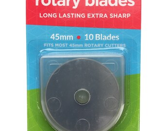 Boodle 10 x 45mm Olfa Compatible Rotary Cutter Blades + Case