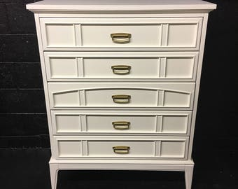 Midcentury Chest in Creamy Ivory