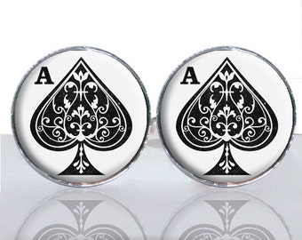 Ace of Spades Round Glass Tile Cuff Links CIR171