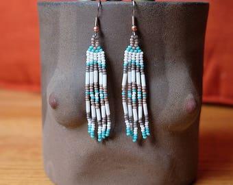 Winter Moon Minis // Native American Beaded Earrings