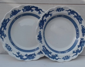 "Vintage ""Booths"" blue and white large soup bowls. Oriental Dragon and peony design. A8029."