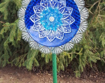 Glass Garden Flower Royal Blue