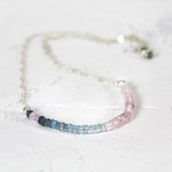 Aquamarine Morganite Necklace - Blue Pink Aquamarine Necklace