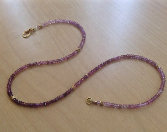Pink Tourmaline Faceted Rondelle and Solid 18k Gold Necklace