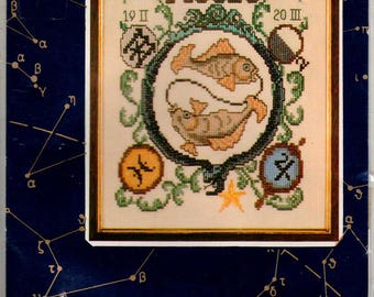 Vintage Lanarte Pisces Cross Stitch Kit, Zodiac Embroidery Kit Made in Holland, Horoscope Twin Fish