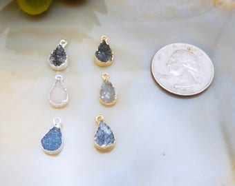 Petite Teardrop Druzy Pendant Electoplated with Single Bail - Pick Your Color (S8B26)