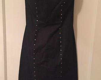 Vintage Follies Paris Women's Small Denim & Rhinestone Strapless Dress Made in France