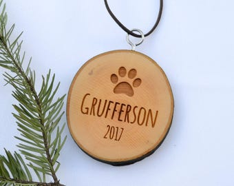 Pet Ornament, Dog, Cat, Christmas Ornament, First Christmas, Personalized Birch Tree Slice