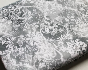 Destash Fabric, gray and white flowers and vines