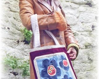 Boho Bag, Hippie Bag, Flower Bag, Recycled Bag, Shopping Bag, Upcycled Bag, Fabric Bag, Applique Bag, Market Bag, Quirky Tote Bag, Eco Bag