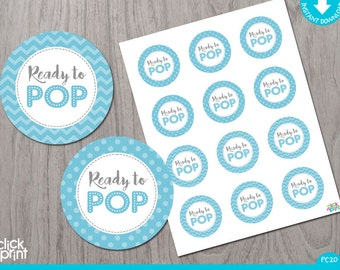 Blue Baby Baby Shower Print Yourself Cupcake Toppers or Stickers, Ready to Pop Stickers, Baby Blue and Grey Baby Shower Decoration