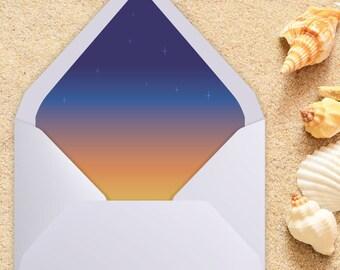 A7 Envelope Liner, Euro Flap, Beach Wedding, Envelope liner, printable envelope, printable liner, liner template, diy printable, liners