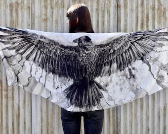 Ready To Ship! Silk Scarf NIGREDO Black Crow Unique Gift