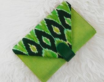 "Ikat Clutch - ""Esther Grace"" in Green Apple"