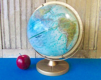 Vintage Replogle Desk Globe - 12 Inch - World Ocean Series - Dual Axis - Topography - Turquoise - Mid Century Vintage 1960's