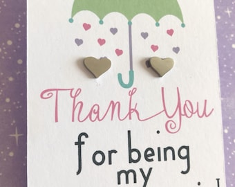 Thank you for being my bridesmaid flower girl earring gift