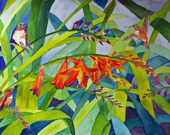 Flame Lilies Steal The Show Original Watercolor Wall Art Art By Mishelle