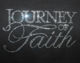 Journey of faith done with  clear  rhinestones. Necklace not included