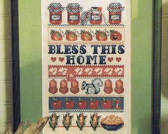 Bless This Home Sampler Cross Stitch Pattern - Banded Sampler Cross Stitch - Kitchen Decor Cross Stitch