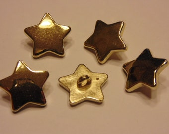 5 gold color star buttons, 17 mm (1)