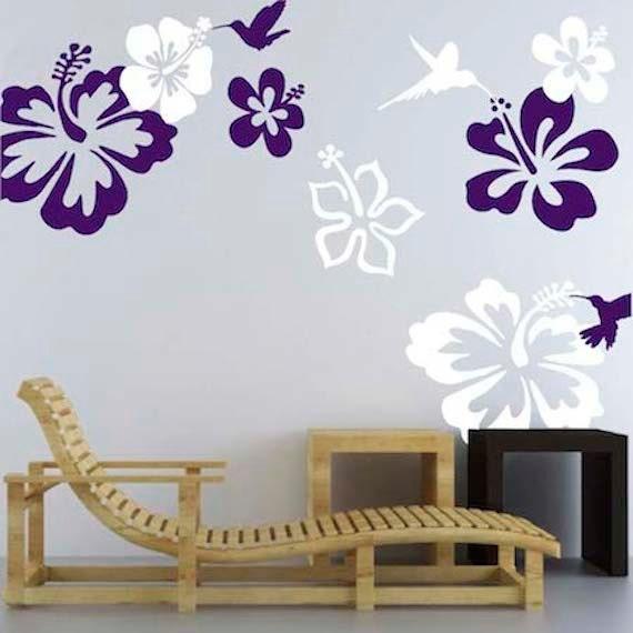 Stickers Fleur Dhibiscus Peintures Murales Colibris