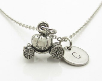 Pumpkin Carriage Necklace, Cinderella Carriage Necklace, Personalized, Monogram, Initial Necklace, Storybook Themed, Fairy Tale Jewelry Y415