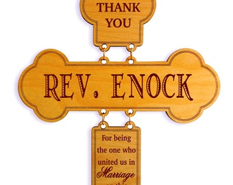Wedding Officiant Cross Gift, Celebrant Bishop-Reverend-Priest-Pastor Appreciation Gift from Couple, Wedding Thank You Custom Gifts, DWO002