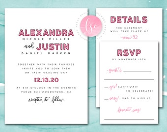 Wedding Invitation Printable, Printable Wedding Invitation, Printable Wedding Invite, Customizable Wording and Colors | DIGITAL PRINTABLE