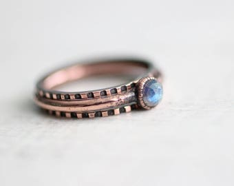 Labradorite Ring Copper Ring Electroformed Copper Ring Rose Cut Labradorite