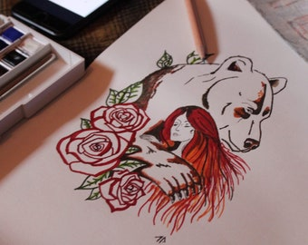 Woman with bear - Passion and love - illustration - Card
