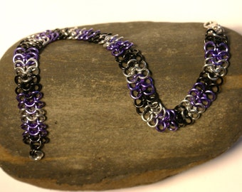 Purple Black and Silver European 4 in 1 Chainmaille Anklet
