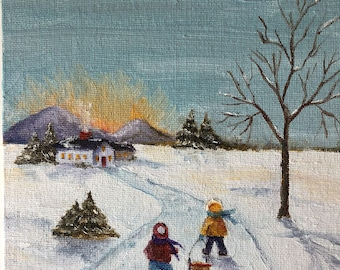 Original Oil Painting with Small Easel of Snow Day Original Artwork Paintings on Canvas Small Format Art