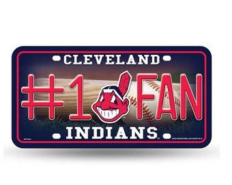 Cleveland Indians MLB #1 Fan Metal License Plate