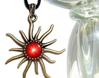 Root Chakra Necklace, Bright Red Pendant, Sun Jewelry