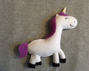 Unicorn Stuffed Toy with Purple Mane and Tail