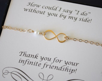 7 Gold Infinity Bridesmaid Bracelet Gifts, Infinity Eternity Jewelry, Bridesmaid Gift, Bridesmaid Thank You Card, White Pearl, Gold Bracelet