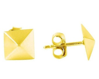 Pyramid Stud Earrings In Gold Vermeil, Pyramid Studs, Pyramid Earrings, Silver Pyramid Stud Earrings